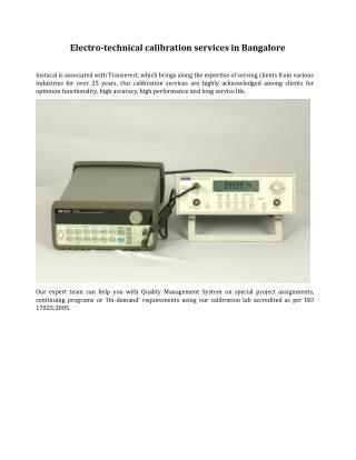 Electro-technical calibration services in Bangalore