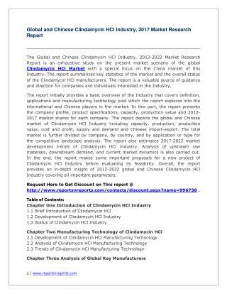 Global Clindamycin HCl Industry Analyzed in New Market Report