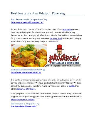 Best Restaurant in Udaipur Pure Veg