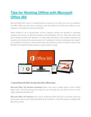 Tips for Working Offline with Microsoft Office 365