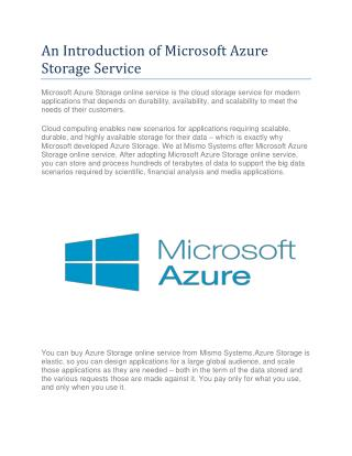 An Introduction of Microsoft Azure Storage Service