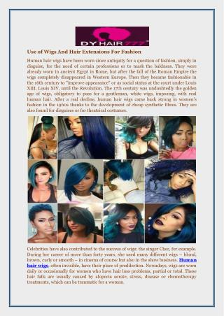 Use of Wigs and Hair Extensions for Fashion
