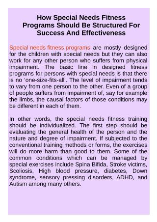 Special Needs Fitness Programs