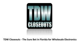 TDW Closeouts - The Sure Bet in Florida for Wholesale Electronics