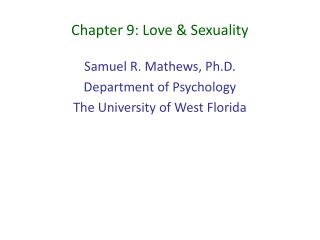 Chapter 9: Love  Sexuality