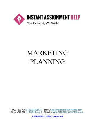 Sample Assignment on Marketing Planning of an Organization