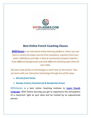 Learn Online French Coaching Classes - WifiClasses