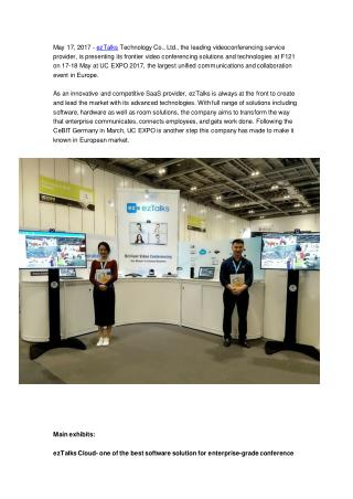 ezTalks Introduces Advanced Videoconferencing Solutions at UC EXPO 2017
