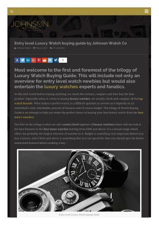 Entry Level Luxury Watch Buying Guide