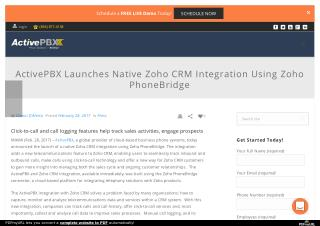 ActivePBX Launches Native Zoho CRM Integration Using Zoho PhoneBridge