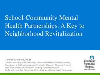 School-Community Mental Health Partnerships: A Key to Neighborhood Revitalization