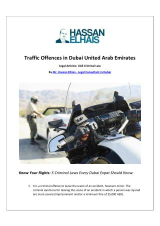 Traffic Offences in Dubai United Arab Emirates