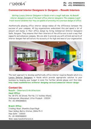 Commercial Interior Designers In Gurgaon – Resaiki Interiors