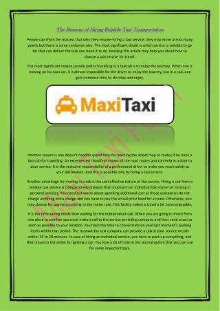 The Reasons of Hiring Reliable Taxi Transportation