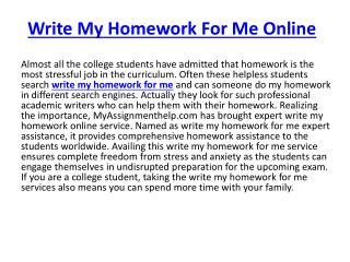 Write My Homework Online For Me