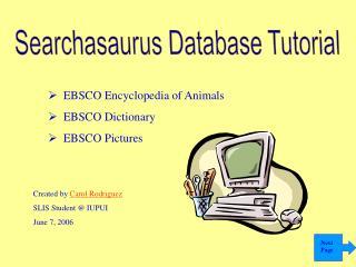 Searchasaurus Database Tutorial
