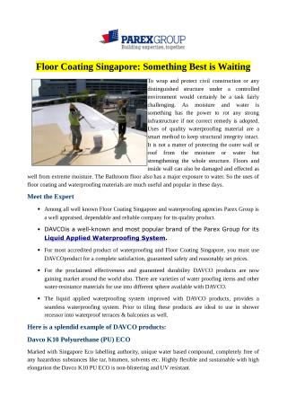 Floor Coating Singapore: Something Best is Waiting