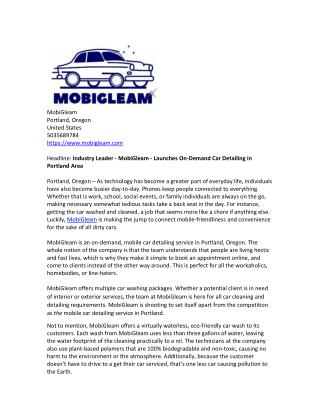 Industry Leader - MobiGleam - Launches On-Demand Car Detailing in Portland Area