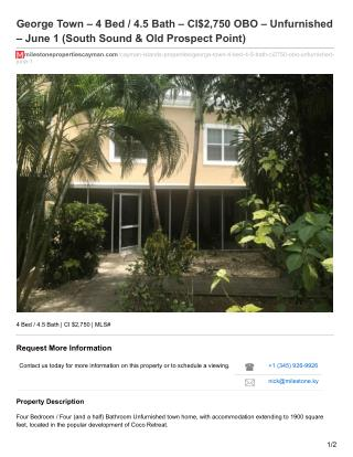 George Town -  4 Bed/ 4.5 Bath house for rent - Milestone Properties