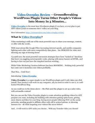 Video Overplay review-$26,800 bonus & discount