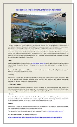 New Zealand- The all time favorite tourist destination