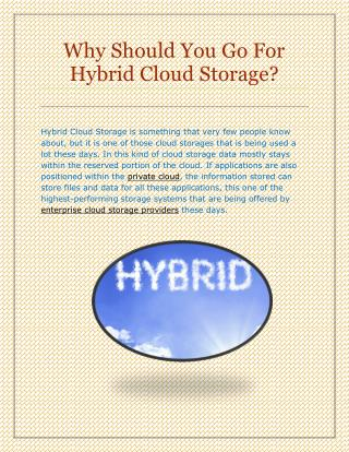 Why Should You Go For Hybrid Cloud Storage?