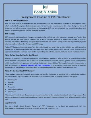 Enlargement Feature of PRP Treatment