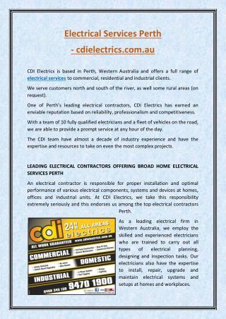 electrical servicesPerth - CDI Electrics
