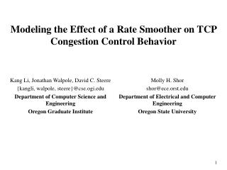 Modeling the Effect of a Rate Smoother on TCP Congestion Control Behavior