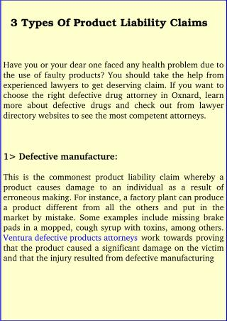 3 Types Of Product Liability Claims