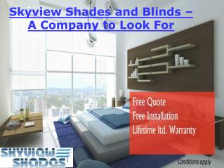 Skyview Shades and Blinds - A Company to Look for