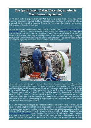 The Specifications Behind Becoming an Aircrft Maintenance Engineering