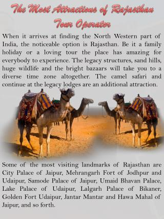 The Most Attractions of Rajasthan Tour Operator