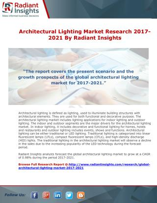 Architectural Lighting Market Research 2017-2021 By Radiant Insights