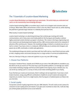 Location based B2B Marketing