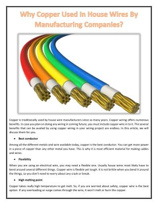 Why Copper Used In House Wires By Manufacturing Companies?