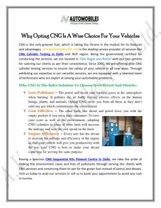 Why Opting CNG Is A Wise Choice For Your Vehicles