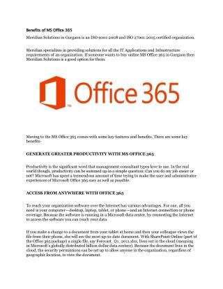 Benefits of MS Office 365
