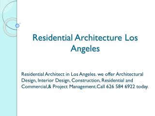 Residential Architecture Los Angeles