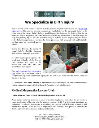 Birth Injury Medical Malpractice Lawyers Utah