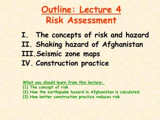 Outline: Lecture 4 Risk Assessment