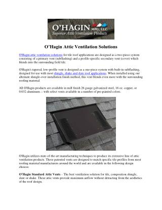 Ohagin Vnets Solutions - Attic Vents Solutions