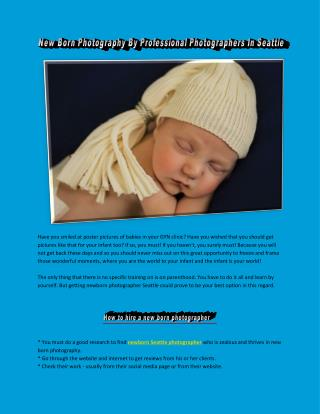 New Born Photography By Professional Photographers In Seattle