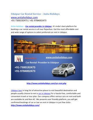 Udaipur Car rental service