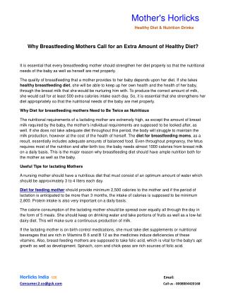 Why Breastfeeding Mothers Call for an Extra Amount of Healthy Diet?