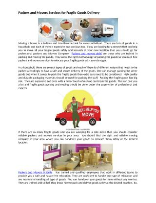 Packers and Movers Services for Fragile Goods Delivery