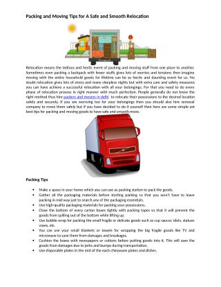 Packing and Moving Tips for A Safe and Smooth Relocation