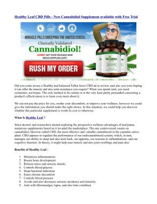 Healthy Leaf CBD Pills - New Cannabidiol Supplement available with Free Trial