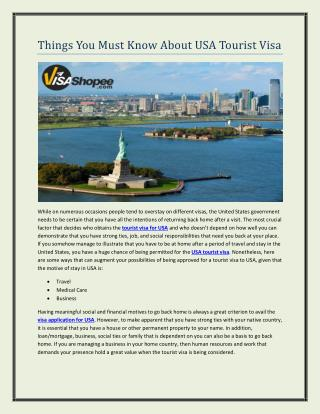 Things You Must Know About USA Tourist Visa