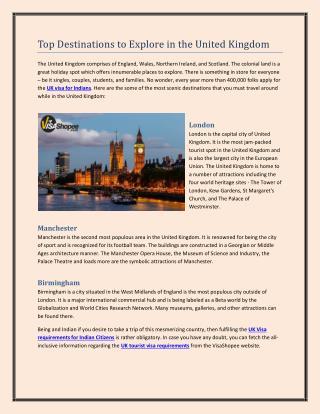 Top Destinations to Explore in the United Kingdom